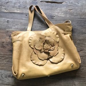 Sorial New York Camel Tan Leather 3D Floral Bag